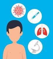 man met covid 19-ziekte en pictogrammen