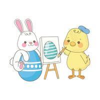 klein konijn en kuiken paasei schilderen vector