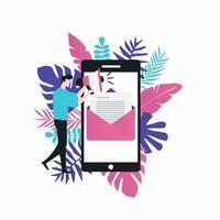 online nieuws, krant, nieuwswebsite platte vectorillustratie. nieuwsupdate, nieuwsartikel, internetkrant, digitale inhoud, elektronische mediadiensten voor webbanners en apps