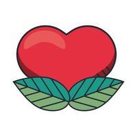 Valentijnsdag hart en bladeren geïsoleerd pictogram vector