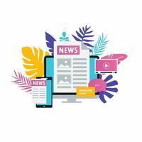 online nieuws, krant, nieuwswebsite platte vectorillustratie. nieuwsupdate, nieuwsartikel, internetkrant, digitale inhoud, elektronische mediadiensten voor webbanners en apps vector
