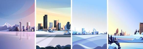 verzameling winterse stadsgezichten vector