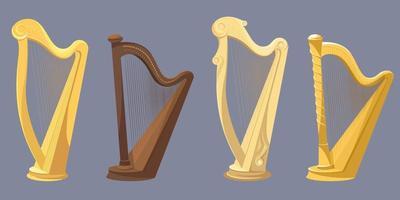 set van verschillende harpen