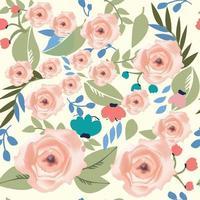 vintage schattig naadloze roze bloem en bladeren vector