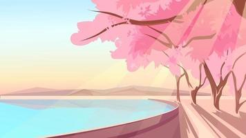 bloeiende sakura op de oever van het meer