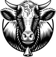 vectorillustratie van een koe in gravurestijl op witte achtergrond vector