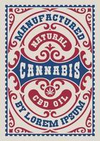 vintage label voor een cannabisthema