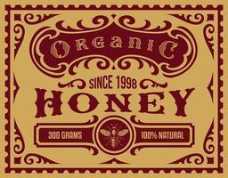 vintage honingetiket voor een pakket vector