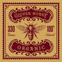vintage honingetiket, dit ontwerp kan worden gebruikt als sjabloon voor een pakket. vector