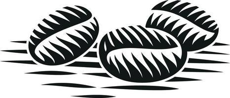 zwart-wit vectorillustratie van koffiebonen in gravurestijl
