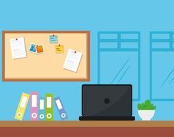 werkplekscène met laptop en pictogrammen vector