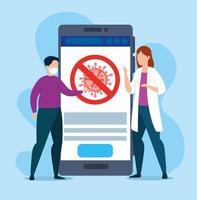 dokter vrouw met zieke man en smartphone app voor covid 19