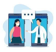 online geneeskunde technologie met smartphones vector