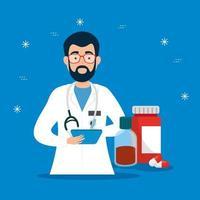 mannelijke arts met medicijnen vector