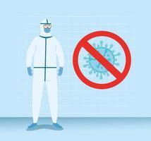 persoon met bescherming tegen biologisch gevaarlijk pak voor covid-19 vector