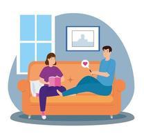 campagne blijf thuis met stel in de woonkamer