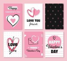 Valentijnsdag wenskaarten met hartjes en symbooldecoratie voor uitnodiging, flyer, posters, tag, banner. vector