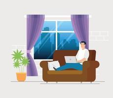 man aan het werk vanuit huis in de woonkamer