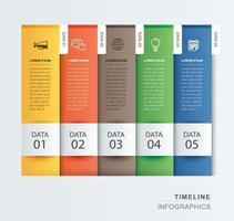 5 data infographics tabblad papieren indexsjabloon. vector illustratie abstracte achtergrond. kan worden gebruikt voor werkstroomlay-out, bedrijfsstap, banner, webdesign.