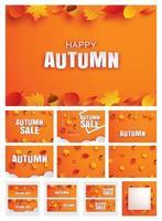 gelukkige herfst herfst instellen uitnodiging en verkoop papier kunststijl met bladeren op oranje achtergrond.