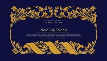 certificaat met ornament luxe frame vector