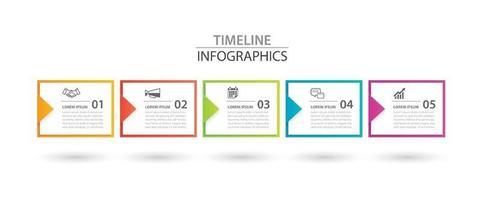 infographics rechthoek papieren index met pijl 5 gegevenssjabloon. vector illustratie abstracte achtergrond. kan worden gebruikt voor werkstroomlay-out, bedrijfsstap, banner, webdesign.