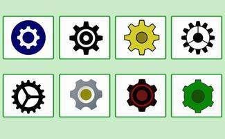 set van eenvoudige en moderne versnellingspictogram met verschillende stijlen vector