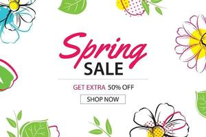 lente verkoop poster sjabloon met kleurrijke bloem achtergrond. kan worden gebruikt voor voucher, behang, flyers, uitnodiging, brochure, couponkorting.