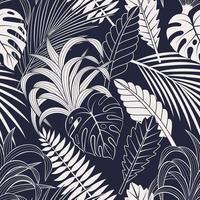 naadloze patroon met tropische bladeren. elegante donkerblauwe en witte exotische achtergrond.