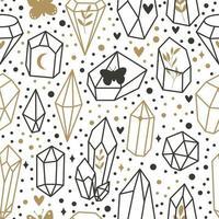 diamant doodle vector patroon. naadloze mode trendy achtergrond. handgetekende edelstenen, diamanten