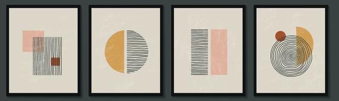 trendy eigentijdse set van abstracte creatieve geometrische minimalistische artistieke handgeschilderde compositie. vector posters voor wanddecoratie in vintage stijl