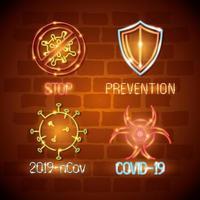 neonlicht coronavirus pictogramserie vector