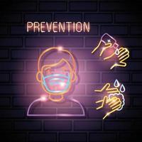 neonlicht coronavirus met preventiepictogrammen vector