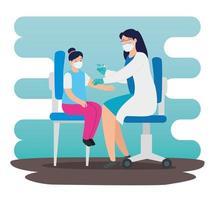 arts die een meisje in de spreekkamer vaccineert vector