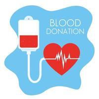 donatie bloedzak met hart vector