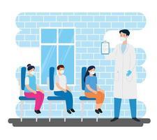 arts met kinderen in de spreekkamer vector