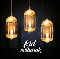 eid mubarak-poster met hangende lantaarns en decoratie vector