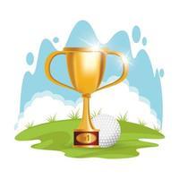 golfbal met trofee beker vector