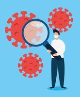 werkloze man vanwege pandemie coronavirus vector