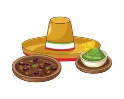 nacho's met guacamole en mexicaanse hoed vector