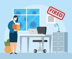 zakenvrouw wordt ontslagen vector