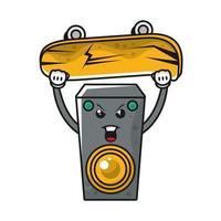 luidspreker met skateboard komisch karakter vector
