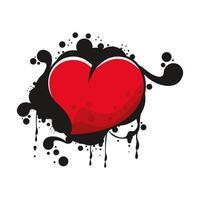 hart liefde graffiti met verf splash vector
