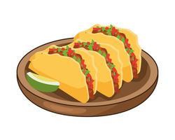 heerlijke Mexicaanse taco's en traditionele gerechten met citroen vector