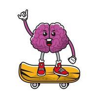 hersenen op skateboard komisch karakter vector