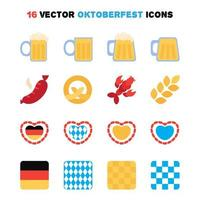 oktoberfest pictogrammen instellen vector