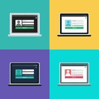 websjabloon van het aanmeldingsformulier voor notebooks vector