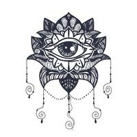 oog op lotus tattoo vector
