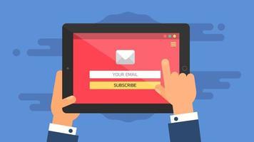 websjabloon van tablet-e-mailformulier vector
