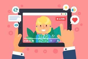 Europese vrouwelijke web streamer concept illustratie vector